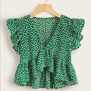 Ditsy Floral Print Butterfly Sleeve Top